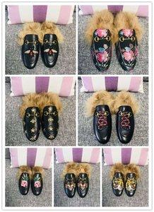 Modezeitschriften Star Street Snap Style Mode, Freizeit, bequeme und weiche Blume Tierstickerei Tierhaare Hausschuhe