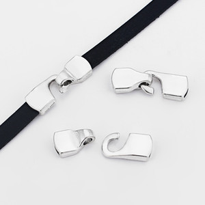 5 комплектов боковая застежка-крючок браслет выводы для 5 мм 10 мм плоский кожаный шнур ювелирных изделий