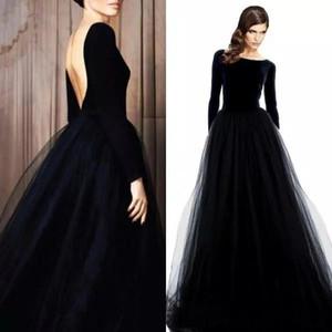 Elegante de manga larga de terciopelo noche Dresse Sexy Backless negro vestido de fiesta de baile Bateau cuello de tul falda vestidos largos formales desgaste