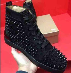 WholesaleRed Bottom High Top Mulheres, Homens Sapatos Spikes Sapatilhas Sapatos, Designer de Luxo Rebites Plana Sapatos de Caminhada, Vestido de Festa de Casamento 35-46