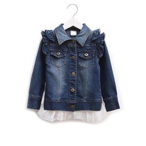 Девушки джинсовая куртка весна осень кружева пальто для подростков девушка рябить верхняя одежда детская школьная одежда