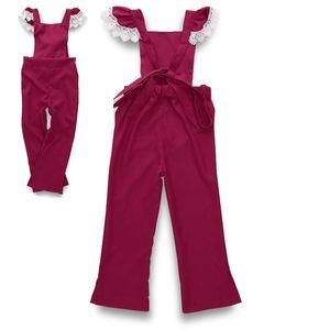 Combinaison de coton rouge mouche enfants enfants dentelle coton combinaison bébé filles Combinaisons enfants barboteuses Infant Toddler filles Bodys 2-7Y