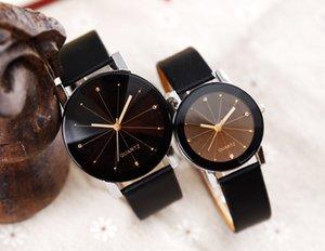 Kadınlar Kuvars Saatler Relogio Masculinos Moda Zaman Erkekler Saat Deri Elbise Yuvarlak Kılıf Saat Aşıklar İzle Dial