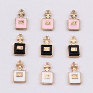 16 * 8mm dello smalto di modo No 5 di profumo incanta bottiglia del profumo ciondoli in metallo penzola orecchini braccialetto della lega gli accessori la produzione di gioielli all'ingrosso