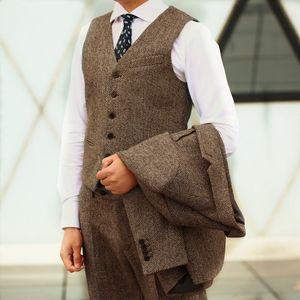 WWedding Smokin Damat Düğün Wear 2019 Yün Custom Made Artı boyutu Balıksırtı Tweed Groomsmen En ManSuits (+ Vest Ceket + Pantolon) Suits