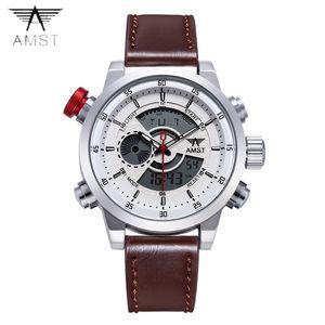 2018 AMST Марка кварцевые часы для мужчин мода LED двойной дисплей военные спортивные часы простой кожаный ремешок водонепроницаемые часы 3013