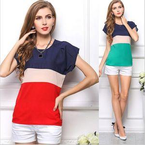Nouveau Femmes d'été Blouses T-shirts Stripe Chemisier en mousseline à manches courtes Roupas Femininas Casual Tops Shirt Blusas Accueil vêtem 1041