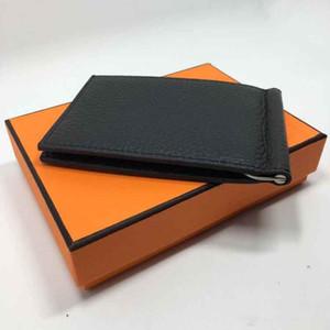 Designer de moda europeia e americana Curto Carteiras Top Couro De Vaca Clipe Dinheiro Fino Bolsas Titular do Cartão de Crédito Unisex com caixa de embalagem