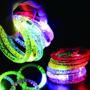 LED 아크릴 반짝이 글로우 플래시 led 팔찌 빛 최대 장난감 스틱 빛나는 크리스탈 손 반지 Bangle 멋진 댄스 파티 크리스마스 선물