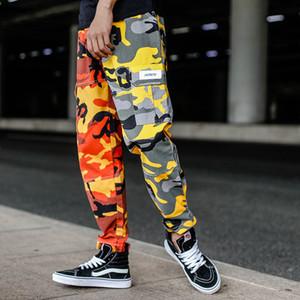 Мужской Весенняя мода Мужская Jogger Брюки Мужской Big Карманы Sweatpants Камуфляж штаны хип-хоп Streetwear Брюки Человек Камо Пара женщин