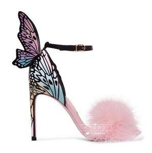 Kadın Sandalet Kelebek Kanat Dekor Yüksek Topuk Kadın Ayakkabı Stiletto Marka Pist Yıldız Ayakkabı Kürk Dekor Renkli Ayakkabı Düğün