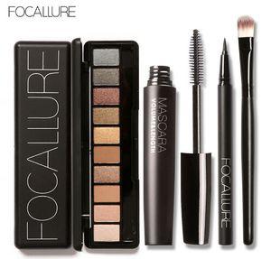 Nueva llegada 4Pcs Pro Maquillaje Set 10 colores Warm Nude Colors Eyeshadow Black Mascara Eyeliner con 1Pcs Shadow Brush Kit