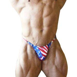 Мужские трусики-бикини с американским флагом и принтом стринги с изображением плавок Сексуальные пляжные купальники Горячее нижнее белье с контурной сумкой