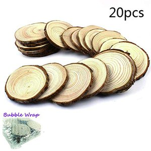 20pcs Unfinished Wood Log Slice Circles with Tree Bark Log Discs for Wedding Party Christmases Festival DIY Craft