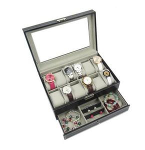 Negro / Marrón Profesional 12 Rejillas Ranuras Relojes Caja de almacenamiento PU de cuero Capas dobles Reloj Caja Organizador Joyero Caja titular