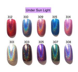 10 색깔 Realchic 상표 7ml Holo 빛난 반짝임 젤 광택 젤 와니스 못 예술 자필 매니큐어를 못을 박으십시오