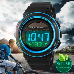 Solar energy skmei  casual sport army digital LED watches for men women kids boys girls children gift boxes rubber silicone