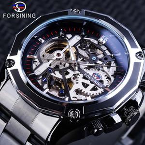 x Forsining Fashion Steampunk Movimento meccanico Design Nero Bracciale Orologi automatici da uomo Top Brand Luxury Skeleton Clock