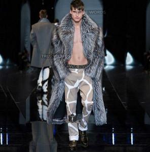 실버 겨울 두꺼운 가짜 여우 모피 코트 망 가죽 오버 코트 남성 긴 디자인 트렌치 코트 jaqueta 드 couro 플러스 크기
