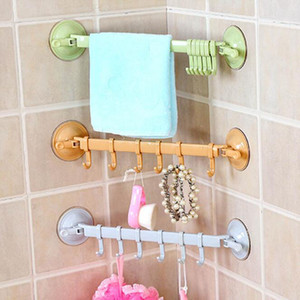 Montado en la pared Tipo de cuarto de baño Diversas Colgador Utensilios de cocina Estante de almacenamiento Lijón Ganchos para toallas de plástico 6 Ganchos