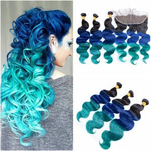 # 1b / синий / зеленый Ombre девственные бразильские пучки человеческих волос с 13x4 полный кружева фронтальной закрытия три тона цветные человеческие волосы ткет