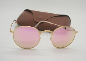 Hochwertige herren frauen runde sonnenbrille brillen flash spiegel sonnenbrille gold metall rosa 50mm glaslinsen kommen mit fall und box
