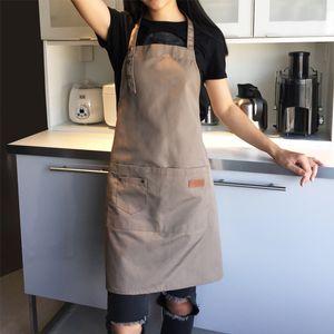 Leinwand Schürze Große Tasche Familie Koch Kochen Home Backen Reinigungswerkzeuge Lätzchen Backen Kunst Schürze WX9-710