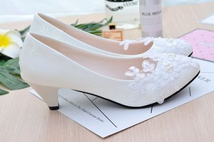2018 Womens Pumps Beads Bridal Shoes Elegant White Lace Women Shoes New Designers Bridal Wedding Shoes For Party