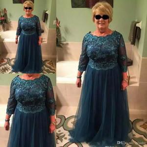 Zarif Peacock mavi anne Gelin elbiseler Uzun Kollu Tekne Boyun Tül Kat Uzunluk anne Damat Elbiseler Artı Boyutu Abiye giyim