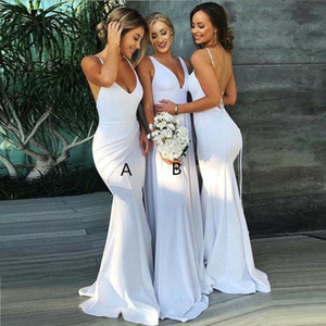 2018 Halter Mermaid Long Bridesmaid Dresses V Neck Ruched Satin Backless Formal Evening Gowns Plus Size Maid Of Honor Gowns