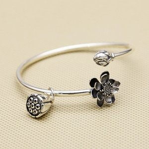 High quality 925 sterling silver open bangle delicate and romantic lotus flowerwith seedpod hang on with adjustable size to fit perfectly