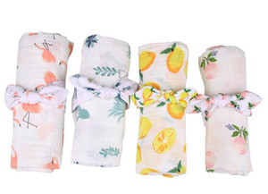 Neugeborenes Baby Floral Decken Cotton Swaddle mit Stirnband Flamingo Lemon Rose Flower Cactus erhalten