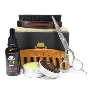 In Stock! Men's Beard Comb Suit Pig Hair Double-Sided Comb Scissors Wax Oil Template Beard Tool 5pcs set