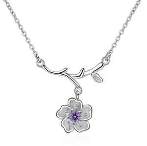Korean style branch sakura pendant necklace Jewelry silver plated collarbone chain for girl special gift free shipping