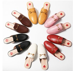 2018 verano marca Princetown mujeres zapatillas de lujo de moda de cuero genuino mocasines zapatos de cadena de metal señoras ocasionales mulas planos nuevo