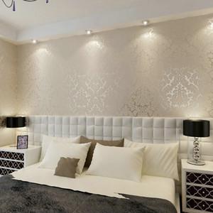 KALEMENG Victorian Damask Silver Scroll Background PVC Roll Wall Papers Decoración del hogar para la sala de estar Dormitorio Wallpaper