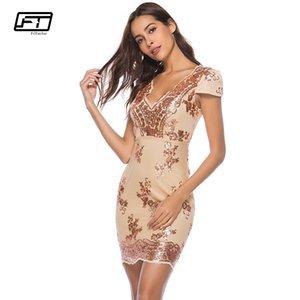 Fitaylor Sommer, Figurbetontes Rückenfreies Kleid Damen Kleidung Mode Pailletten V-ausschnitt Kurzarm Sexy Club Abendgesellschaft Kleider