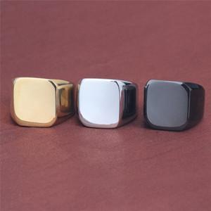 Black Gold Square Blank Knuckle Ring из нержавеющей стали Чистое кольцо Серебряный мотоцикл кольцо Мужские кольца мода ювелирные изделия будут и песчаные новые