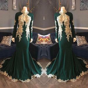 2018 скромные длинные рукава вечерние платья высокая шея кружева аппликация изумрудно-зеленый Русалка южно-африканский арабский плюс размер выпускного вечера вечернее платье