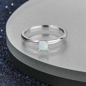 Pop Bianco placcata Rhodium Genuine 925 Sterling Silver Jewelry bianco opale di fuoco anello di Piazza design Young Lady
