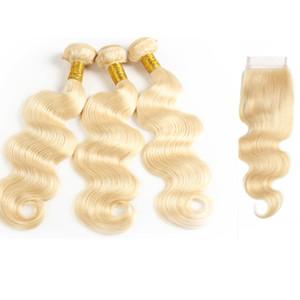 레이스 클로저로 버진 금발 바디 웨이브 번들 브라질 인간의 머리카락 직선 유럽 밍크 버진 헤어 확장