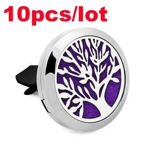 10pcs / lot arbre de la vie voiture diffuseur d'huile essentielle d'aromathérapie avec 1pc feutre pad 316L parfum de voiture en acier inoxydable assainisseur d'air Clip
