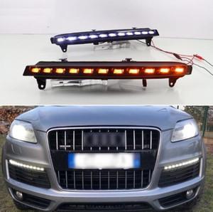 لأودي Q7 2006 2007 2008 2009، وانتقلت الأصفر إشارة ضوئية السيارات DRL ماء 12V LED النهار الجري الخفيف مصباح الضباب لمبة