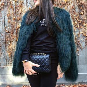 Furry Fur Coat Women Fluffy Warm a maniche lunghe Capispalla femminile Autunno Inverno Coat Jacket Hairy Collarless Overcoat 6Q0205