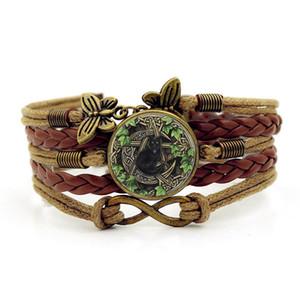 Красиво Wicca черный кот фото Шарм браслеты для женщин мода стекло кабошон бабочка Бесконечности ювелирные изделия многослойные кожаный браслет