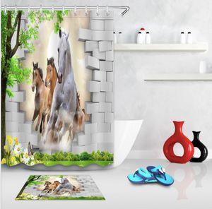 Le rideau en zèbre de rideaux en douche de rideaux de douche du monde 3D d'impression 3D fraisent pour la salle de bains avec 12 crochets + tapis de tapis de tapis