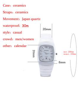 Смотреть Водонепроницаемые часы Керамика Номер 5508 Кварцевые Дамы Алмазные квадратные Повседневные Женщины Оригинальные Роскошные наручные часы Запястье RGENS C18111 IEQQ