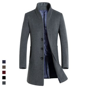 HAMPSON LANQE 2018 Высококачественная классическая длинная мужская одежда для осенних шерстяных смесей