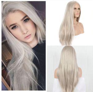 Cosplay perruques avant de dentelle perruque synthétique Ash Platinum Blonde perruques résistant à la chaleur naturelle Hairline perruques de cheveux pour les femmes