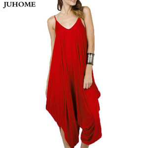2017 Vintage Casual sexy party red Rompers Women Sleeveless Wide Leg Overalls Summer style Long Harem Pants Plus Size Jumpsuits